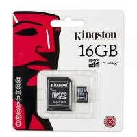 Карта памяти Kingston 16GB microSDHC class 4 adapter SDC4/16GB